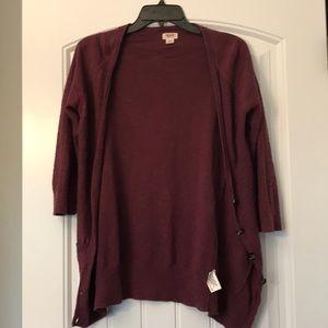 Maroon 3/4 sleeve cardigan